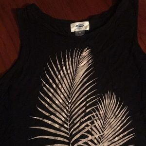 Black tank top with gold leaves